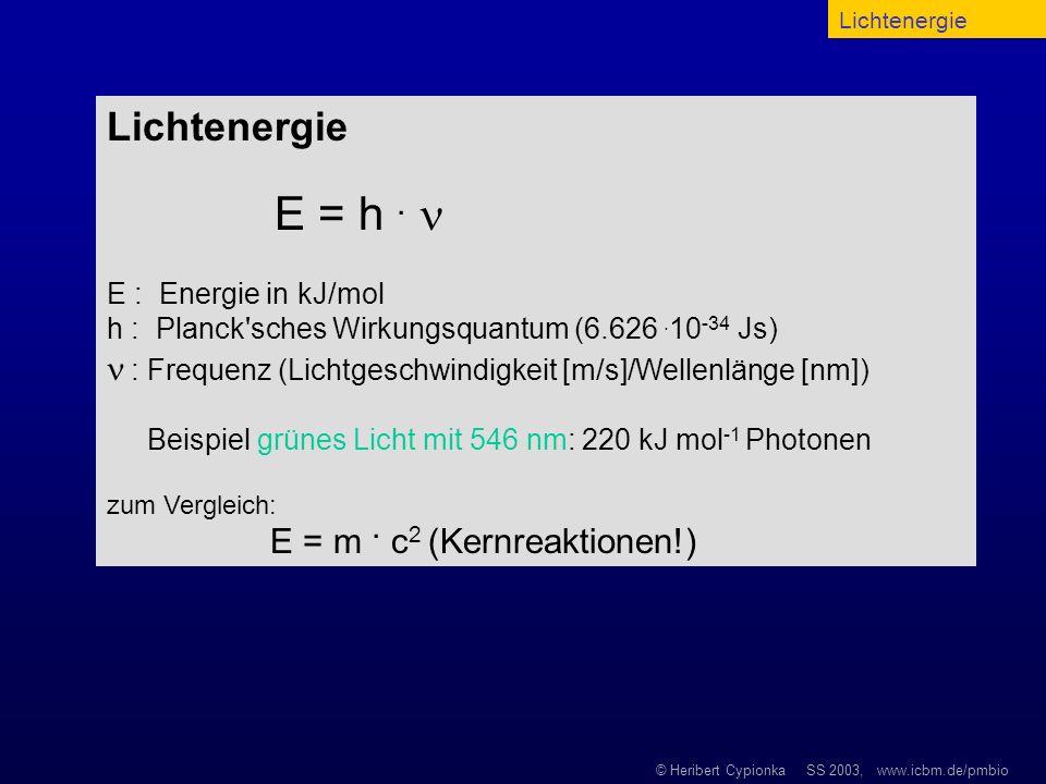 LichtenergieLichtenergie. E = h .  E : Energie in kJ/mol. h : Planck sches Wirkungsquantum (6.626 .10-34 Js)