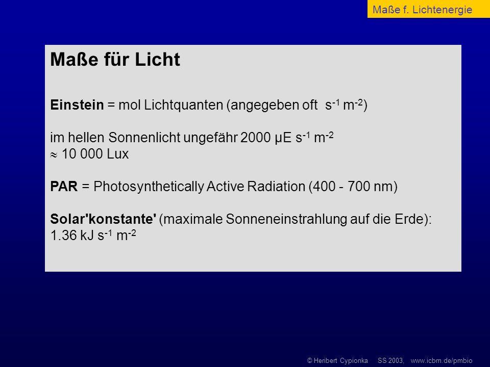 Maße für Licht Einstein = mol Lichtquanten (angegeben oft s-1 m-2)