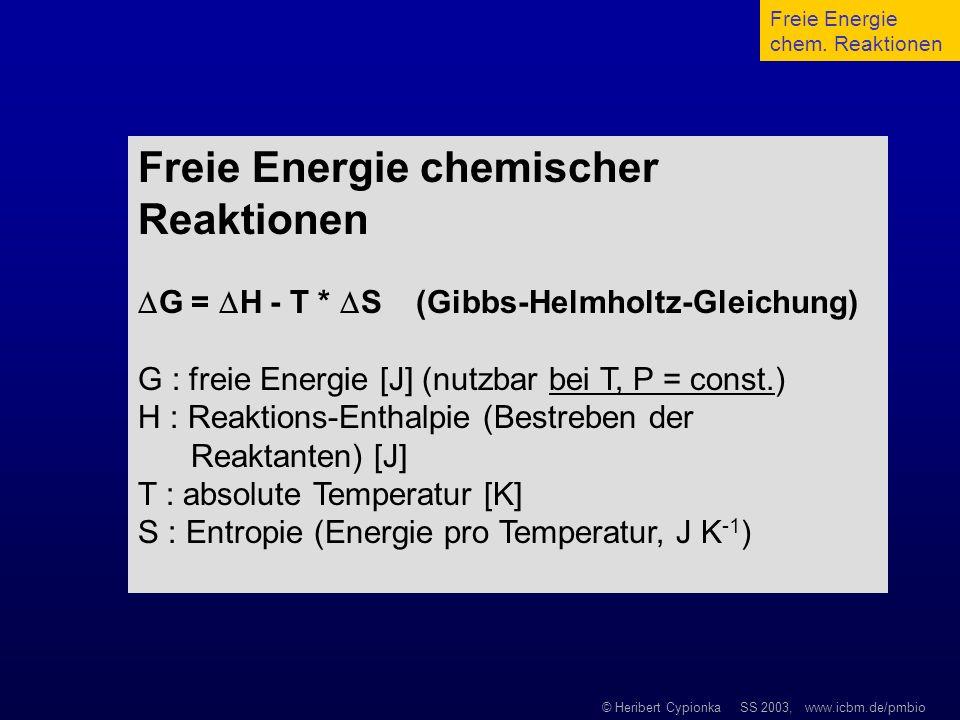 Freie Energie chemischer Reaktionen