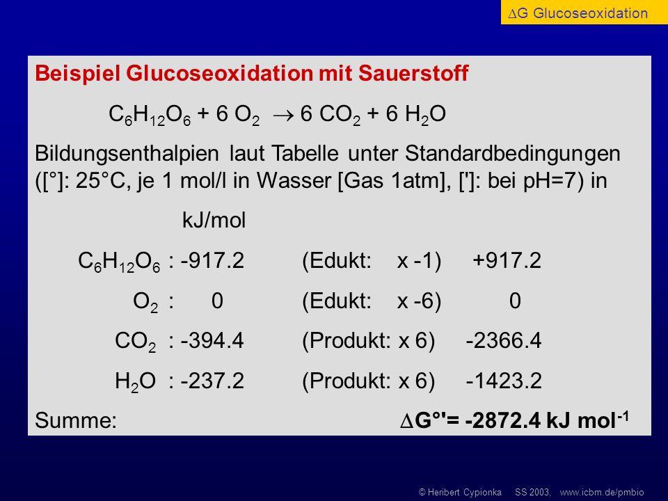 Beispiel Glucoseoxidation mit Sauerstoff
