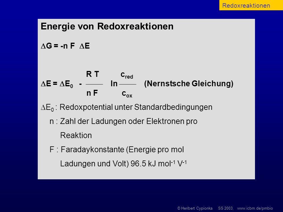 Energie von Redoxreaktionen