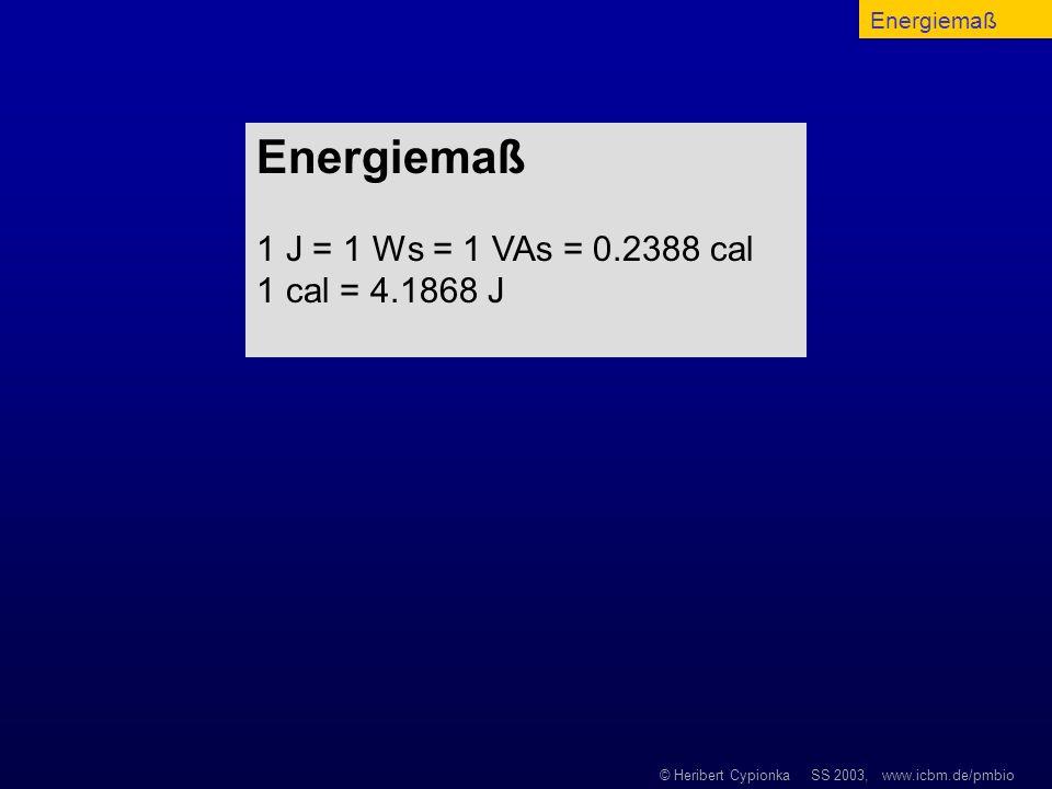 Energiemaß Energiemaß 1 J = 1 Ws = 1 VAs = 0.2388 cal 1 cal = 4.1868 J