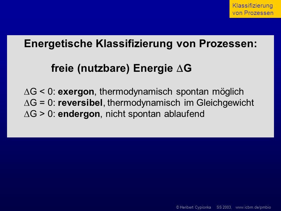 Energetische Klassifizierung von Prozessen: