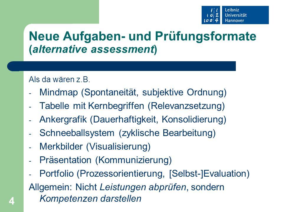 Neue Aufgaben- und Prüfungsformate (alternative assessment)