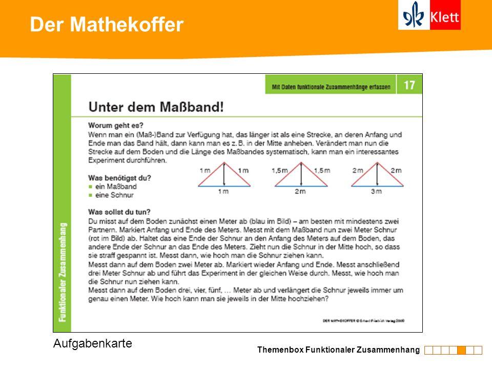 Der Mathekoffer Aufgabenkarte Themenbox Funktionaler Zusammenhang