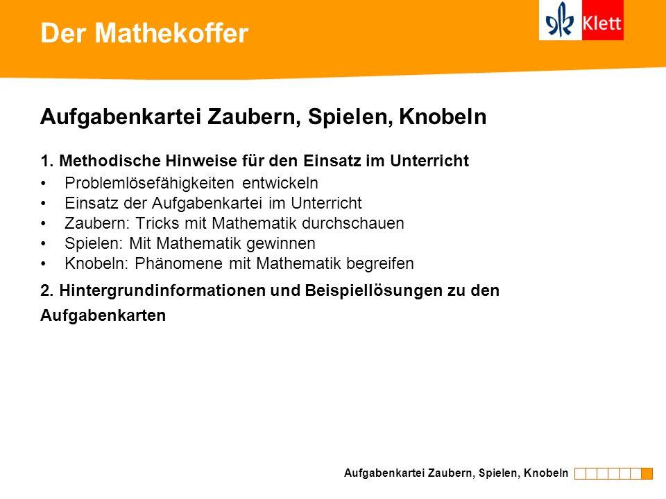 Der Mathekoffer Aufgabenkartei Zaubern, Spielen, Knobeln