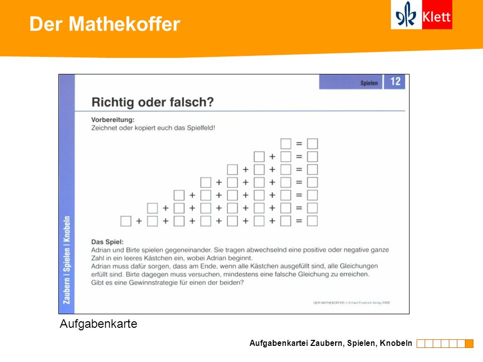 Der Mathekoffer Aufgabenkarte Aufgabenkartei Zaubern, Spielen, Knobeln