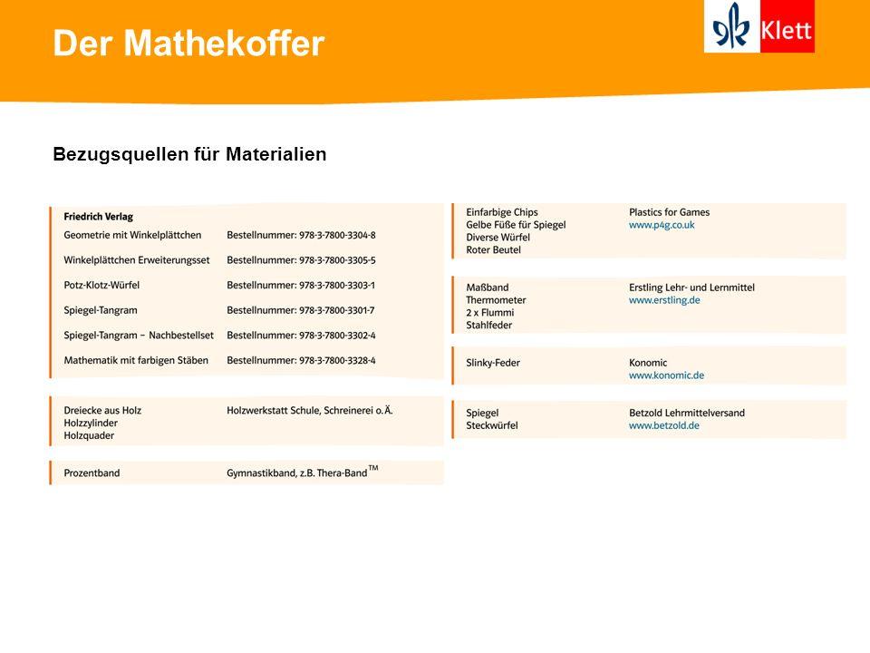 Der Mathekoffer Bezugsquellen für Materialien