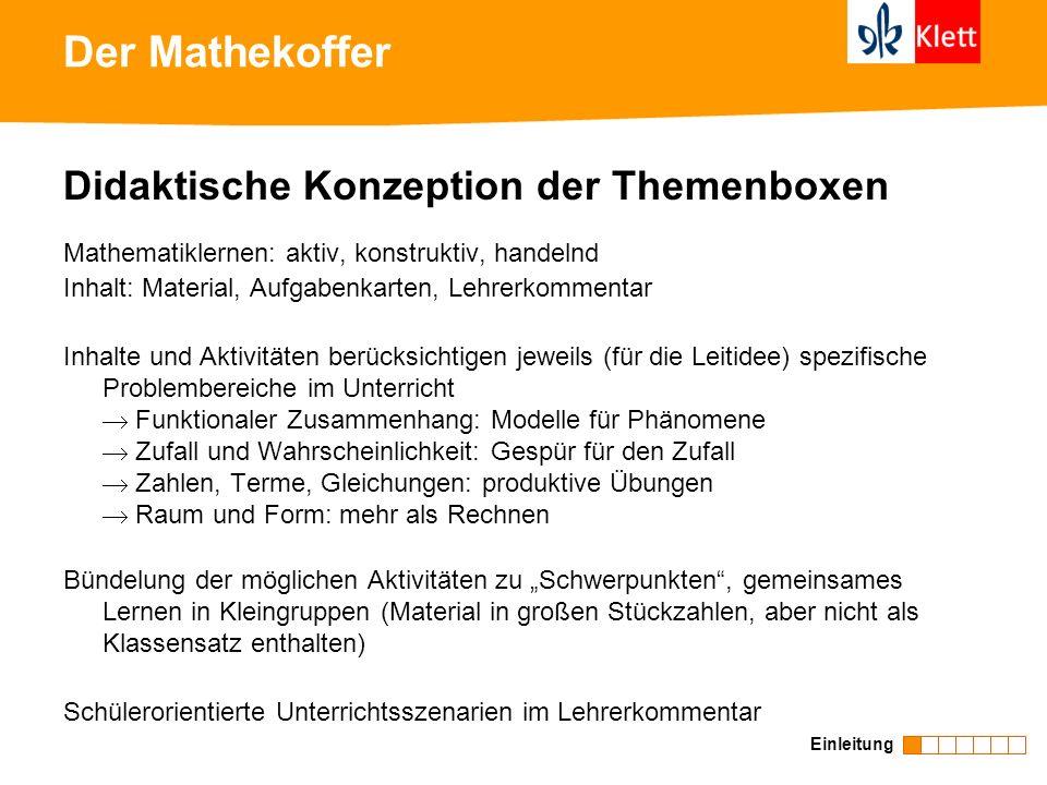 Der Mathekoffer Didaktische Konzeption der Themenboxen