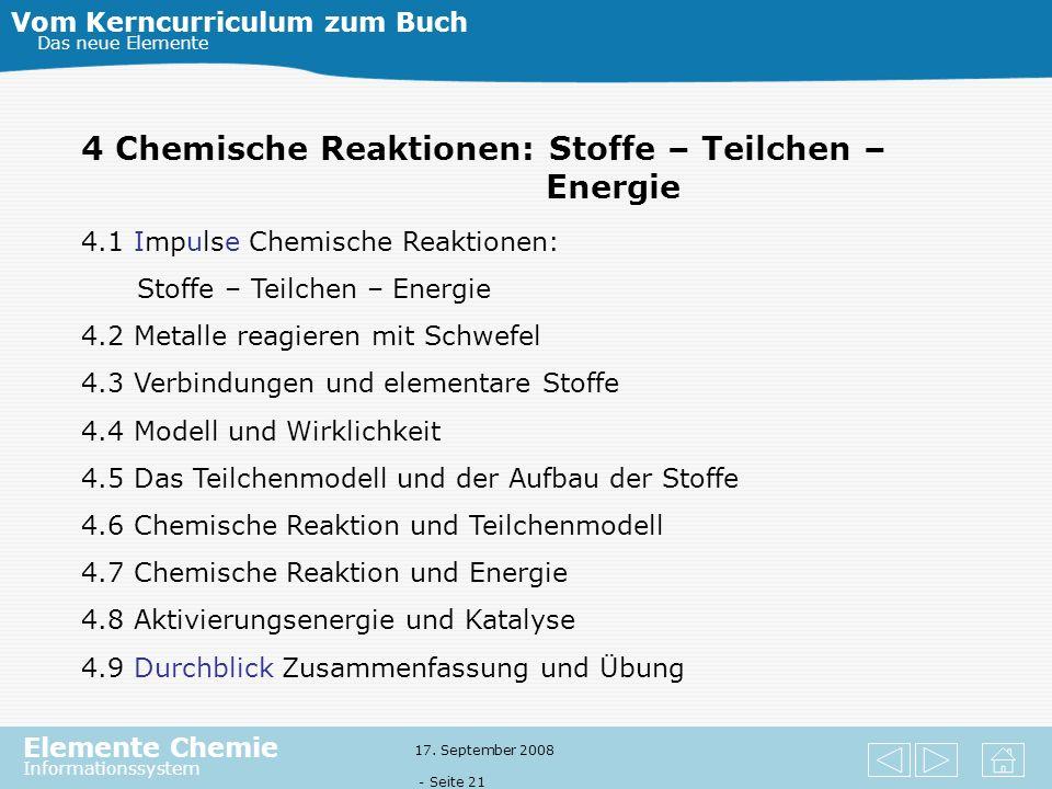 4 Chemische Reaktionen: Stoffe – Teilchen – Energie