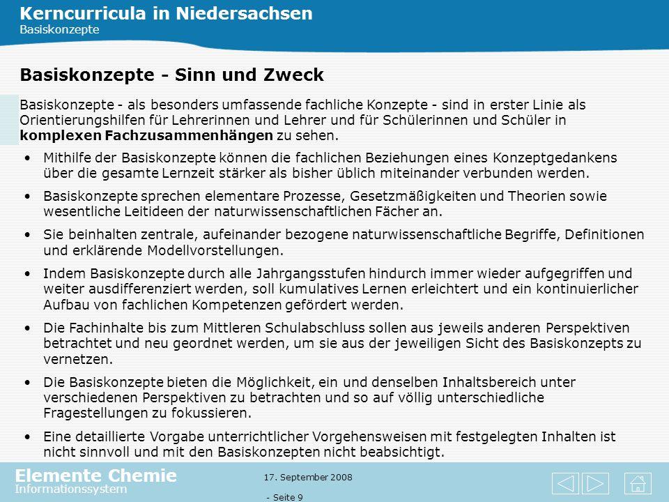 Kerncurricula in Niedersachsen