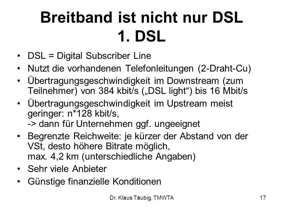 Breitband ist nicht nur DSL 1. DSL