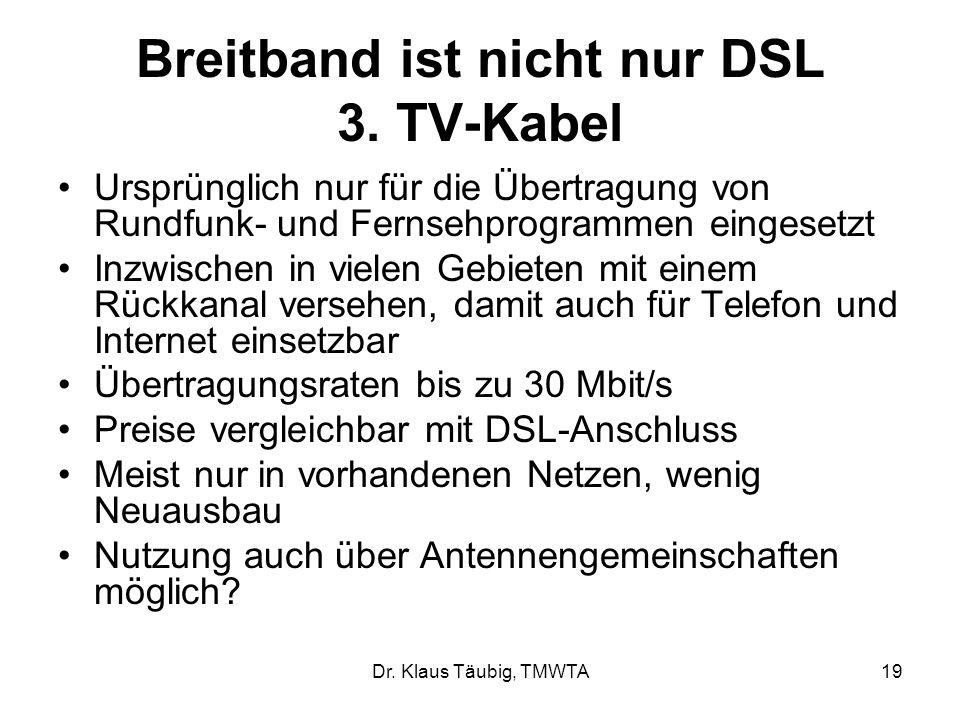 Breitband ist nicht nur DSL 3. TV-Kabel