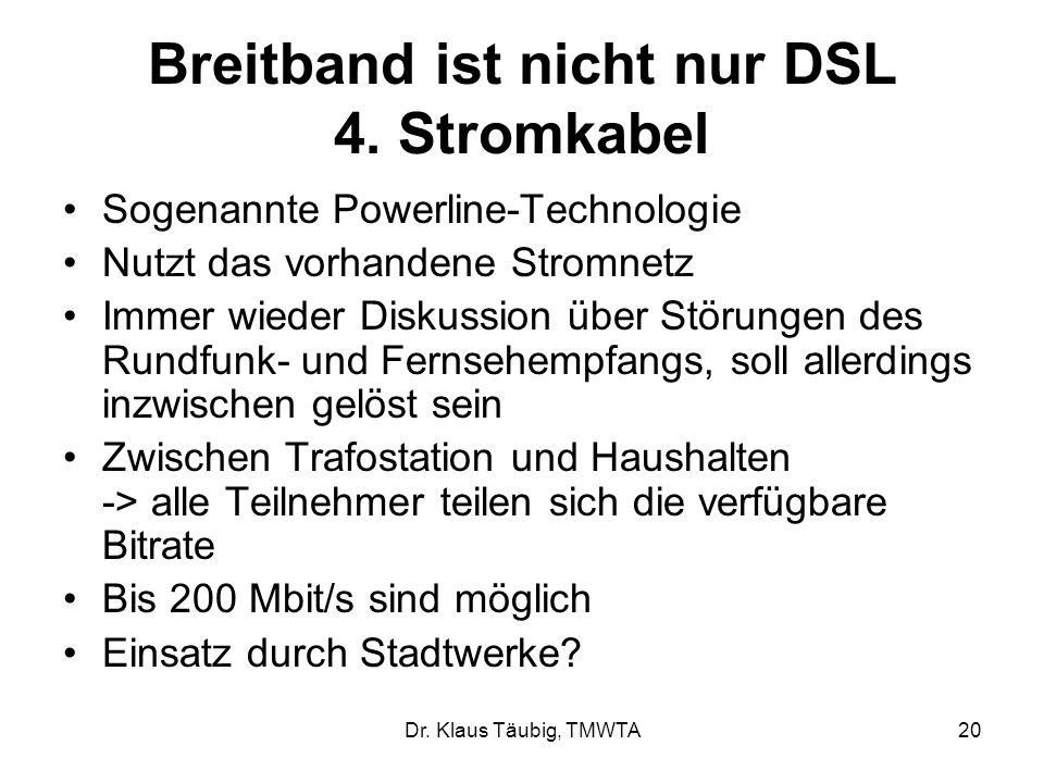 Breitband ist nicht nur DSL 4. Stromkabel