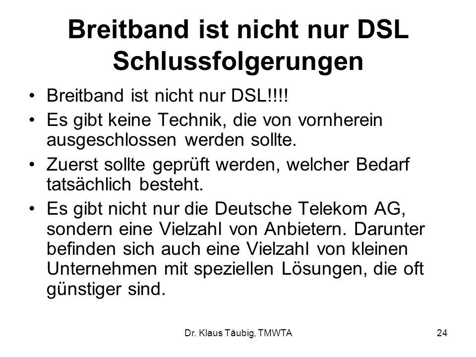 Breitband ist nicht nur DSL Schlussfolgerungen