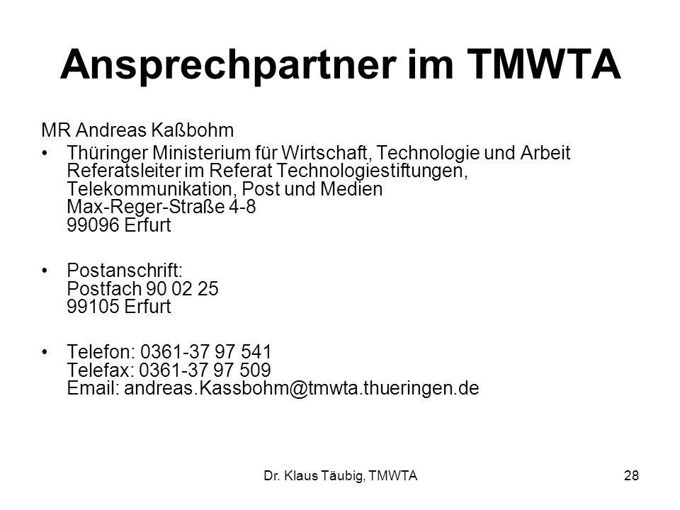 Ansprechpartner im TMWTA