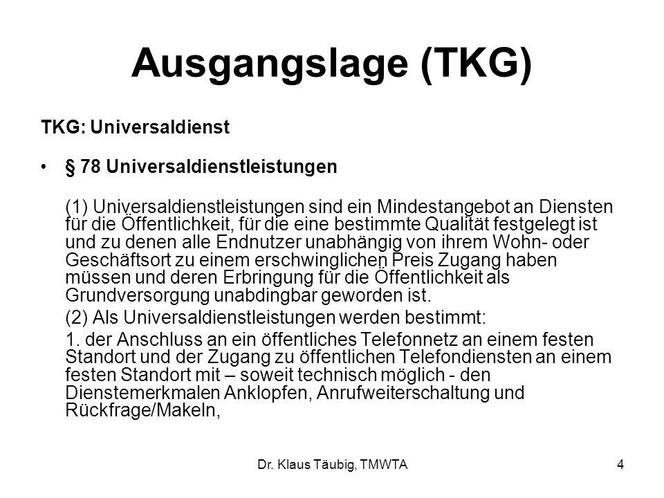 Ausgangslage (TKG) TKG: Universaldienst § 78 Universaldienstleistungen