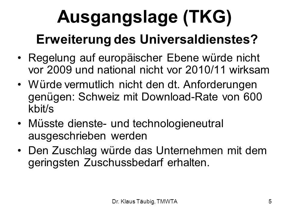 Ausgangslage (TKG) Erweiterung des Universaldienstes