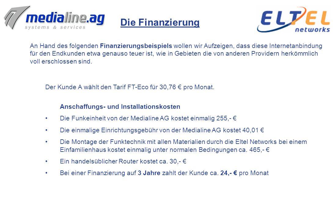 Die Finanzierung An Hand des folgenden Finanzierungsbeispiels wollen wir Aufzeigen, dass diese Internetanbindung.