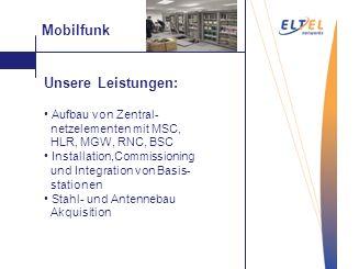 Mobilfunk Unsere Leistungen: geringe Kosten Vakuum- Saugstrahlen