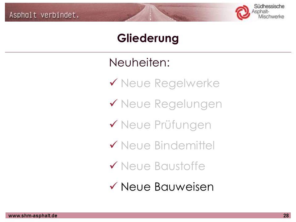 Gliederung Neuheiten: Neue Regelwerke. Neue Regelungen. Neue Prüfungen. Neue Bindemittel. Neue Baustoffe.