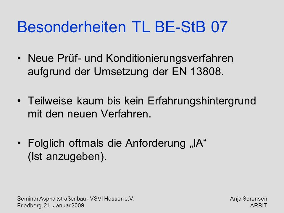 Besonderheiten TL BE-StB 07