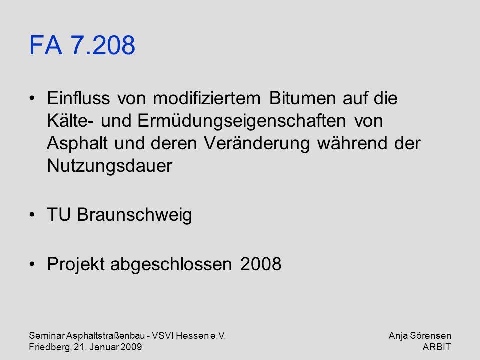 FA 7.208 Einfluss von modifiziertem Bitumen auf die Kälte- und Ermüdungseigenschaften von Asphalt und deren Veränderung während der Nutzungsdauer.