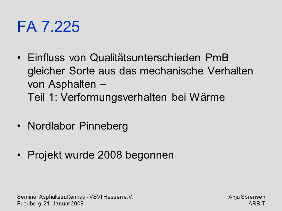 FA 7.225 Einfluss von Qualitätsunterschieden PmB gleicher Sorte aus das mechanische Verhalten von Asphalten – Teil 1: Verformungsverhalten bei Wärme.