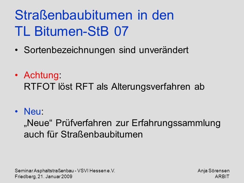 Straßenbaubitumen in den TL Bitumen-StB 07