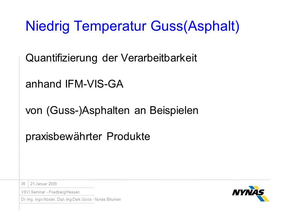 Niedrig Temperatur Guss(Asphalt) Quantifizierung der Verarbeitbarkeit anhand IFM-VIS-GA von (Guss-)Asphalten an Beispielen praxisbewährter Produkte
