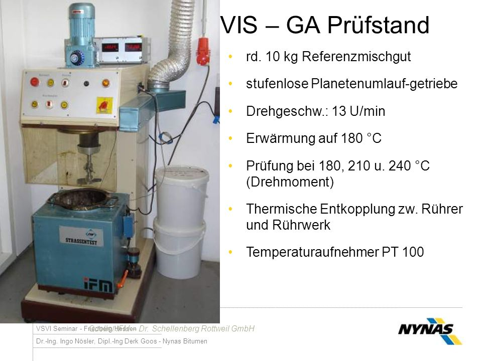 VIS – GA Prüfstand rd. 10 kg Referenzmischgut