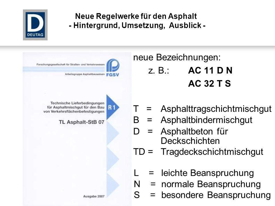T = Asphalttragschichtmischgut B = Asphaltbindermischgut