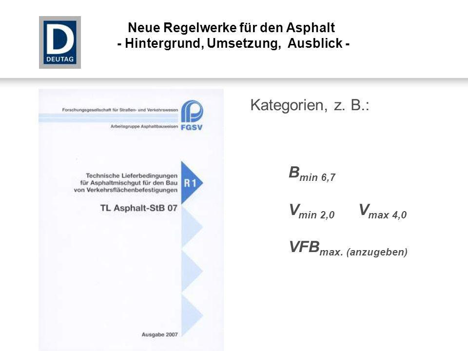 Kategorien, z. B.: Bmin 6,7 Vmin 2,0 Vmax 4,0 VFBmax. (anzugeben)