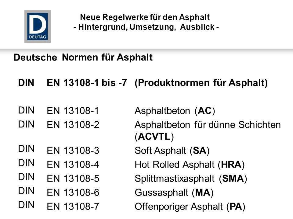 EN 13108-1 bis -7 (Produktnormen für Asphalt)