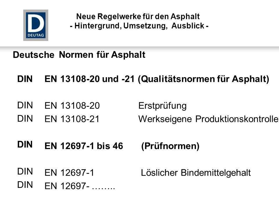 EN 13108-20 und -21 (Qualitätsnormen für Asphalt)