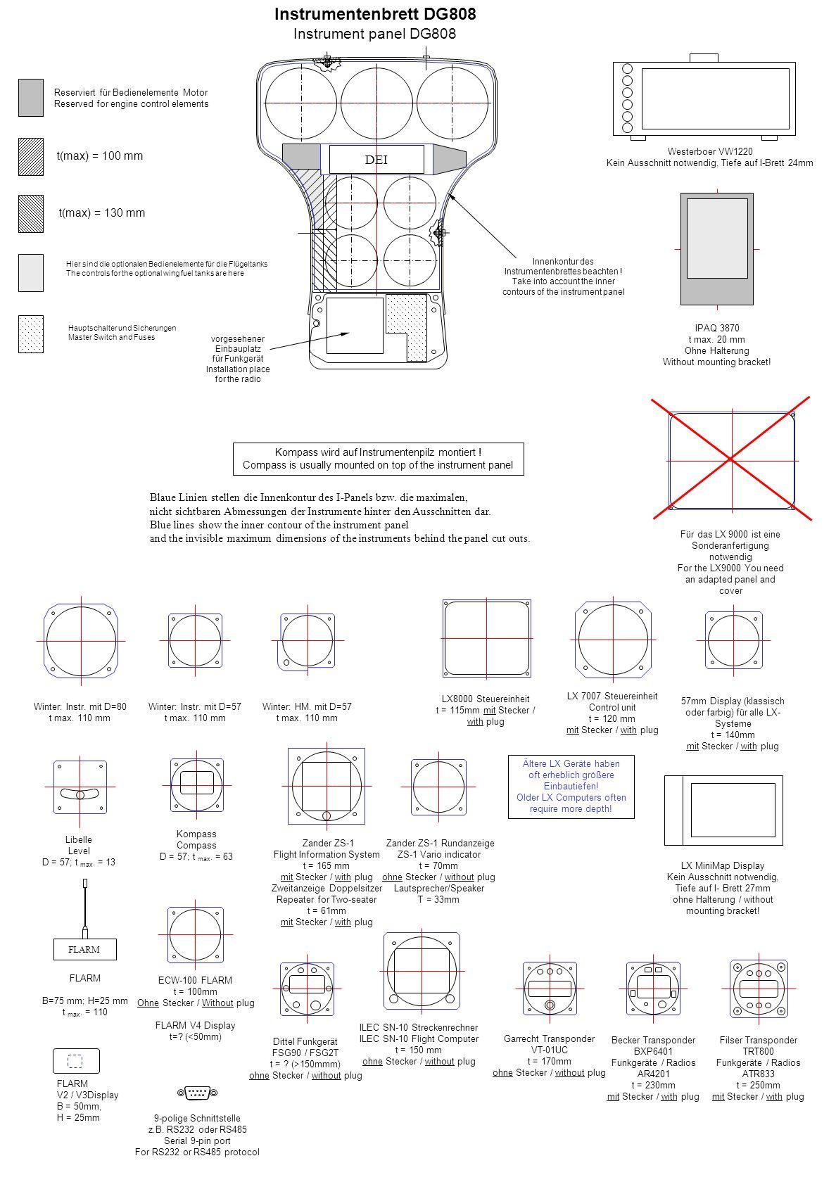 Instrumentenbrett DG808 Instrument panel DG808 DEI t(max) = 100 mm