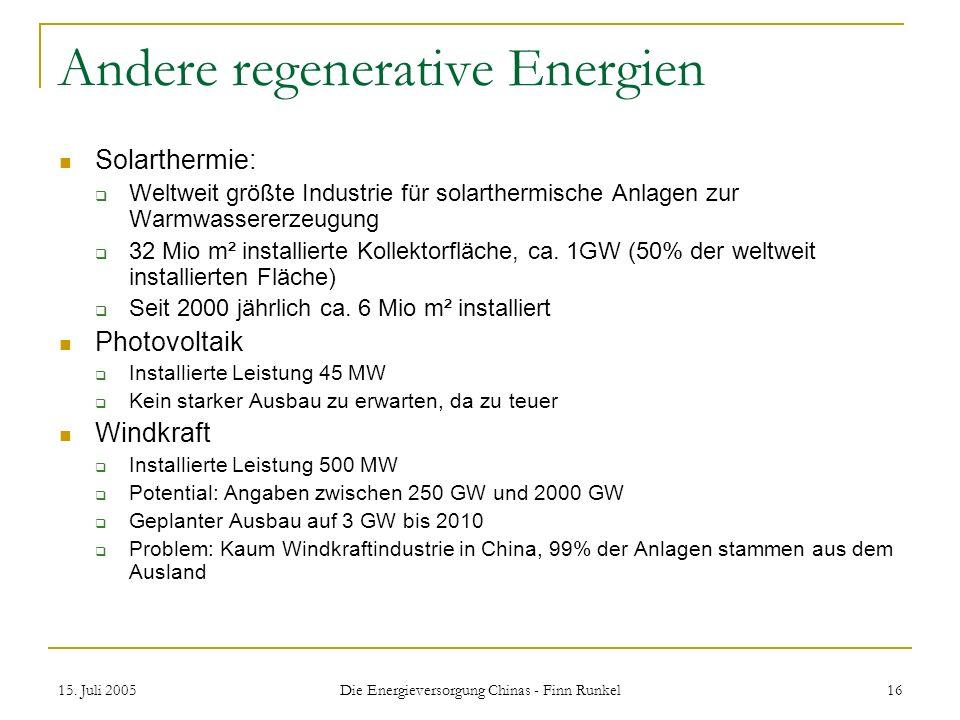 Andere regenerative Energien