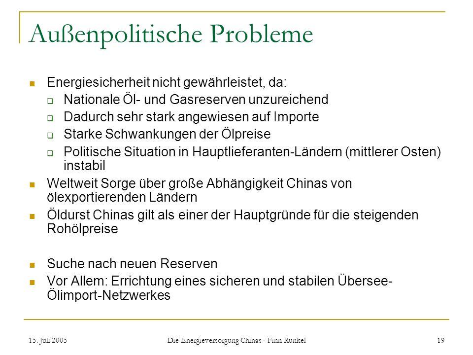 Außenpolitische Probleme