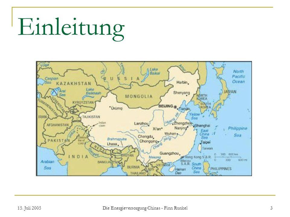 Die Energieversorgung Chinas - Finn Runkel
