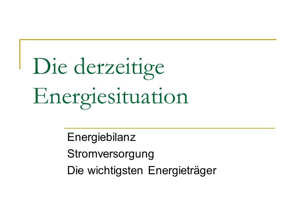 Die derzeitige Energiesituation