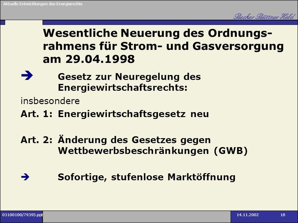 Wesentliche Neuerung des Ordnungs-rahmens für Strom- und Gasversorgung am 29.04.1998
