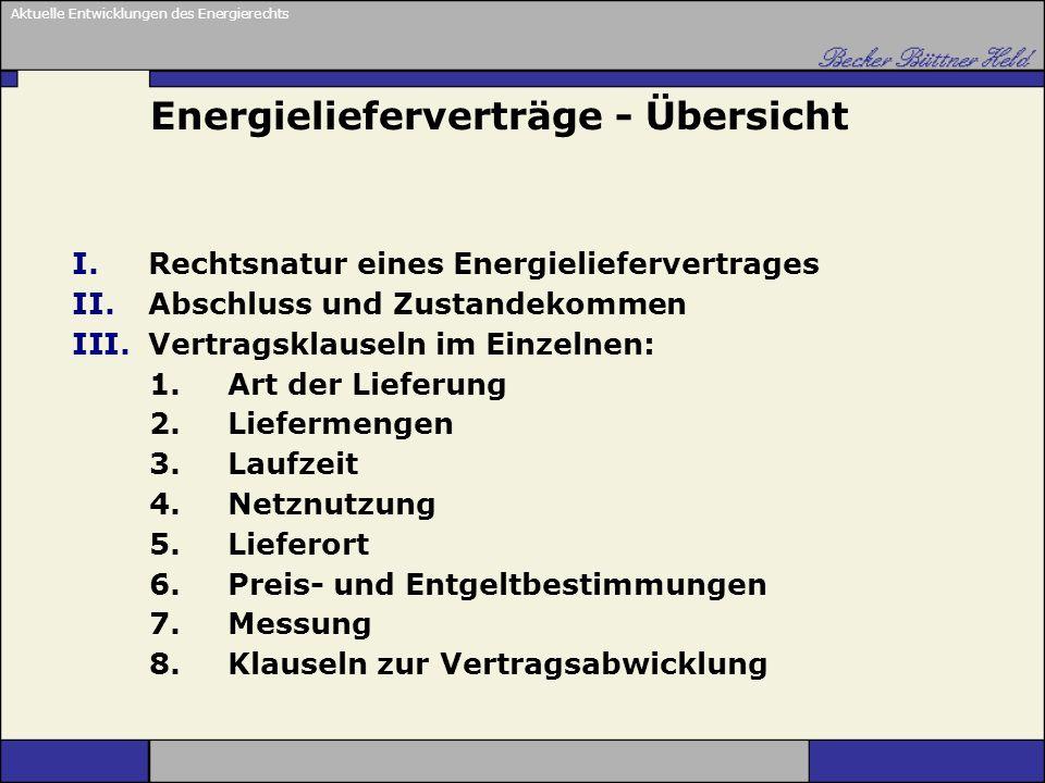 Energielieferverträge - Übersicht