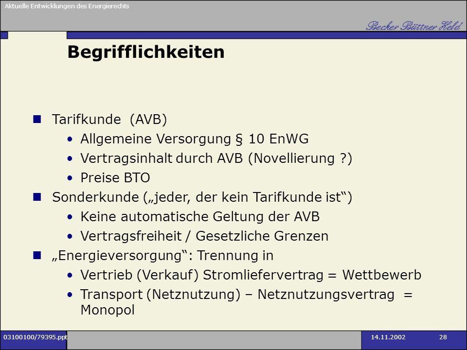 Begrifflichkeiten Tarifkunde (AVB) Allgemeine Versorgung § 10 EnWG