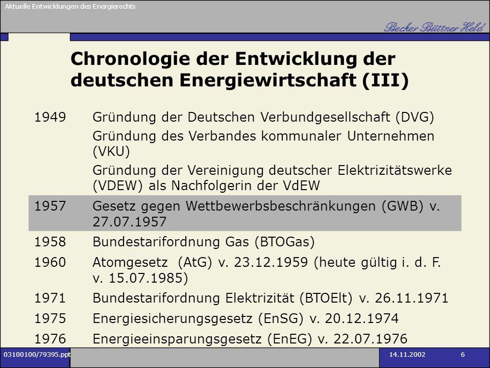Chronologie der Entwicklung der deutschen Energiewirtschaft (III)