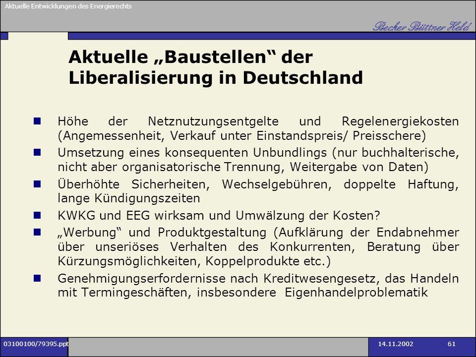 """Aktuelle """"Baustellen der Liberalisierung in Deutschland"""