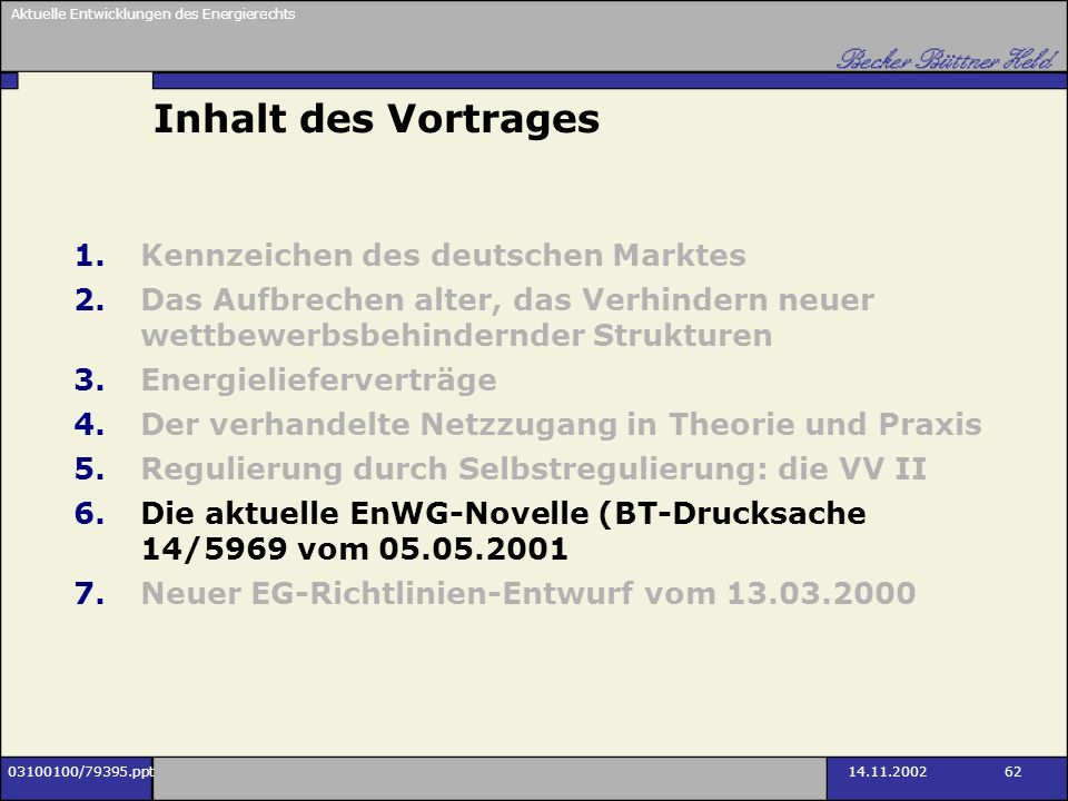 Inhalt des Vortrages Kennzeichen des deutschen Marktes