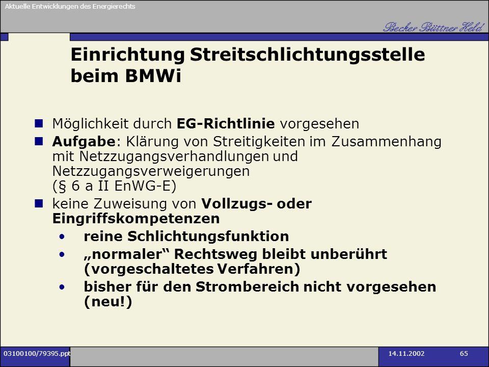 Einrichtung Streitschlichtungsstelle beim BMWi