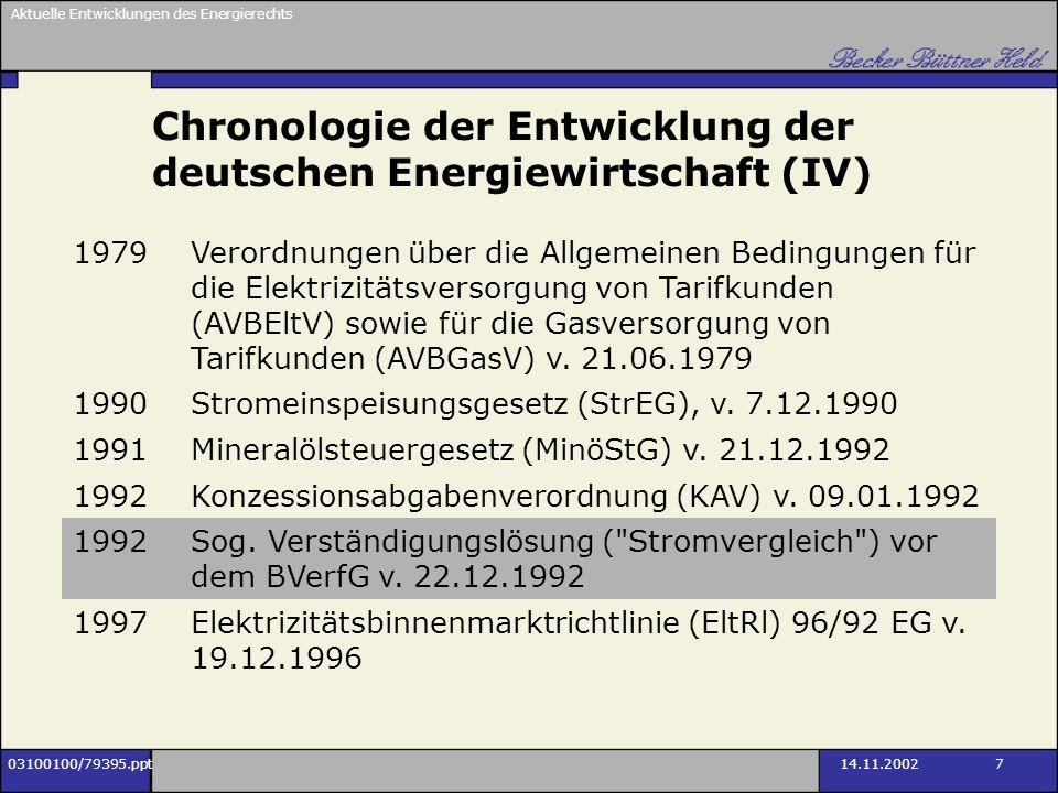Chronologie der Entwicklung der deutschen Energiewirtschaft (IV)