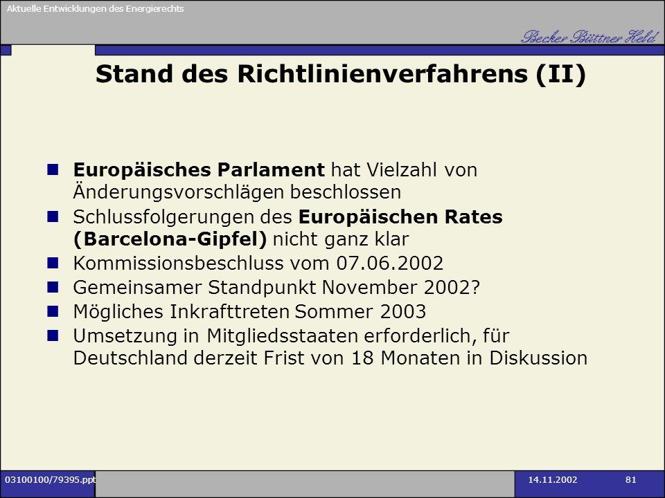 Stand des Richtlinienverfahrens (II)