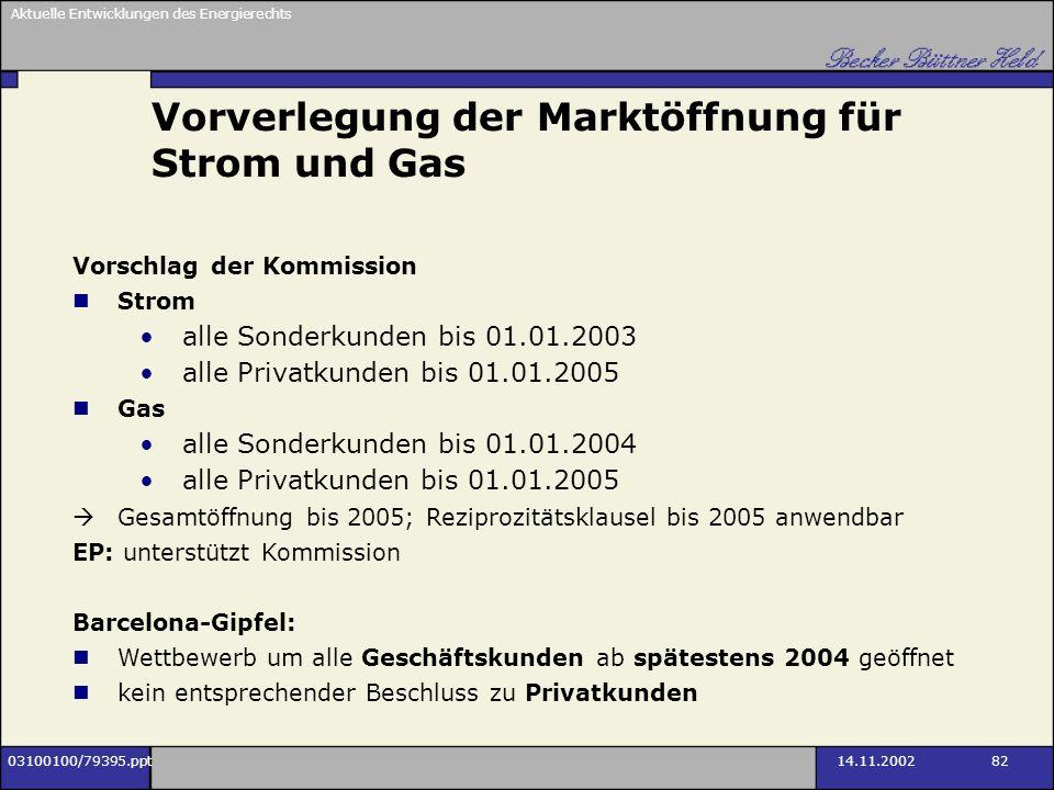 Vorverlegung der Marktöffnung für Strom und Gas